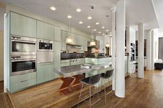 Nice mint glass colored cabinets