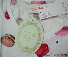 New-Uniqlo-x-Laduree-Paris-Macaron-Print-T-Shirt-Tee-Short-Puff-Sleeve-Off-White