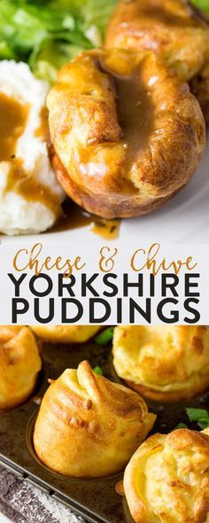 Yorkshire Puddings with cheese and chives. This classic recipe for yorkies are the perfect side dish for roast beef dinner, whether it's for a holiday feast, Sunday dinner, or Christmas this yorkshire pudding recipe will make you famous. #ad #yorkshirepuddings #roast
