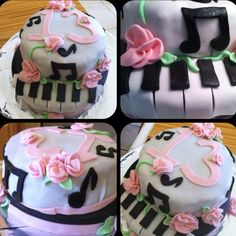Music/flower cake for 13th birthday