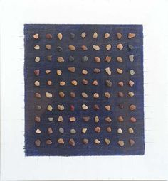Lezlie Tilley, '90 pieces of gravel on a blue/black ground' 2013, rocks and pencil on paper (framed), 15 x 14cm - paper size