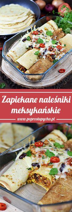 Zapiekane naleśniki meksykańskie są pysznym pomysłem na szybki i bardzo sycący obiad. Te wytrawne naleśniki są nadziane farszem na bazie mięsa mielonego, czerwonej fasoli, kukurydzy, pomidorów i czerwonej cebuli. Zawijamy je w tradycyjne, uniwersalne naleśniki, a następnie podajemy na ciepło lub dodatkowo zapiekamy pod pierzynką ze startego sera i odrobiny farszu.  #poprostupycha #przepis #obiad #naleśniki #naleśnikimeksykańskie #naleśnikipomeksykańsku