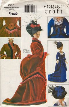 Vogue 7296  719 Linda Carr Fashion Doll Clothes Pattern 11 12 Inch Barbie Dress Choker Bag Bonnet Historical 1820 1830 Sewing Pattern UNCUT