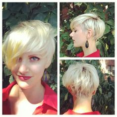 How to style the Pixie cut? Despite what we think of short cuts , it is possible to play with his hair and to style his Pixie cut as he pleases. Superkurzer Pixie, Pixie Cut Blond, Curly Pixie Cuts, Short Hair Cuts, Short Hair Styles, Long Pixie Hairstyles, Undercut Hairstyles, Pretty Hairstyles, Hair Undercut