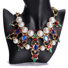 Vintage Gold Chain White Pearl Colorized Acrylic Crystal Statement Bib Necklace