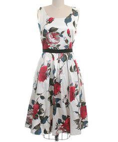 Ivory Berkshire Rose Fit & Flare Dress