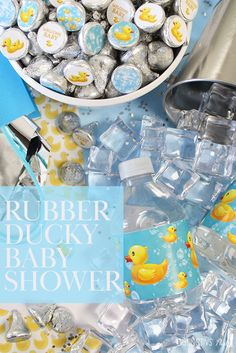 Dec 2019 - Cute yellow rubber duckie baby shower stickers for candy favors and water bottle labels. Ducky Baby Showers, Rubber Ducky Baby Shower, Gold Baby Showers, Candy Favors, Gold Birthday, Welcome Baby, Bottle Labels, Baby Shower Favors, Pink And Gold