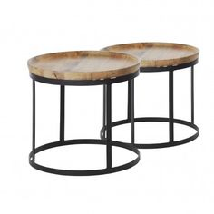 2 coffee tables, iron and solid mango wood - nature and black
