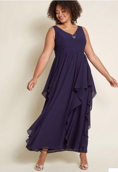 30b6a49d7d8 ModCloth as Ruffles Ripple Maxi Dress In Navy XL Formal Bridesmaid retail   150  fashion