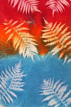 Fern sun printed fabric closeup - gotta try this