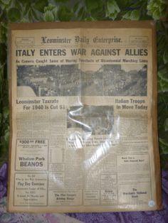 Leominster Ma. Newspaper 1940