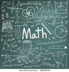 Math theory and mathematical formula equation doodle handwriting icon in blackboard background with hand drawn model used for school education and document decoration, create by vector