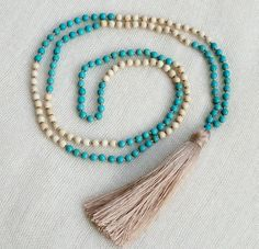 Tassel Necklace - Turquoise & Cream