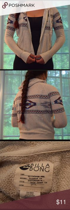 Billabong Printed Aztec Hooded Zip Jacket Very gently worn hooded zip up jacket. Aztec pattern. Originally bought from Pacsun. Cotton and polyester. Billabong Tops Sweatshirts & Hoodies