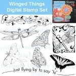 Winged Things Digital Stamps