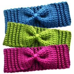 PURCHASED pattern - CROCHET - Crochet Spot ~ Subtle Bow Ear Warmers ~ easy level ~ finished sizes: baby, toddler, child and adult (exact measurements and instructions for measuring are incl. with pattern) ~ picture this: one for Mom and one for babe(s) Crochet Simple, Easy Crochet Patterns, Crochet Stitches, Free Crochet, Stitch Patterns, Knitting Patterns, Easy Knitting, Crochet Headband Pattern, Knitted Headband