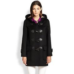 $995, Wool Toggle Duffle Coat Black by Burberry Brit. Sold by Saks Fifth Avenue. Click for more info: http://lookastic.com/women/shop_items/56226/redirect