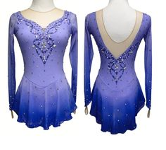 Sk8 Gr8 Designs custom dyed figure skating dress, Lilac to purple, learn more at http://sk8gr8designs.com