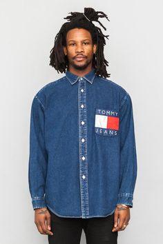 90's Vintage Tommy Hilfiger denim logo pocket shirt