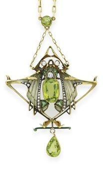 AN ART NOUVEAU PERIDOT, DIAMOND AND ENAMEL PENDANT NECKLACE, BY LUCIEN GAUTRAIT. The gold link chain with a peridot accent, suspending a cushion-cut peridot, rose-cut diamond and pale green plique-à-jour enamel insect, with rose-cut diamond eyes, extending pale green plique-à-jour enamel, rose-cut diamond and peridot wings, with a pear-shaped peridot and diamond drop, mounted in 18k gold, circa 1900, with French assay mark. Signed L. Gautrait for Lucien Gautrait. #ArtNouveau #Gautrait…