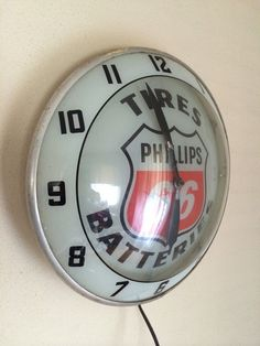 "Phillips 66 Vintage Clock (Old 1930 Antique Gas Oil Advertising Sign, ""Tires & Batteries"" Service Station)"