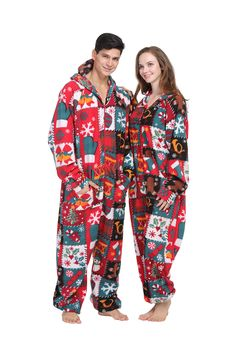 3008f60f345c Party Pajama Women s   Men s Fleece Hooded One-piece Pajamas Ugly Christmas  Size Us Xl