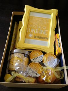 DIY gift: A Box of Sunshine! So cute and easy and inexpensive. Decorate a shoebox and fill it with yellow things to brighten someone's day.