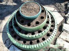 flowerbed of tires
