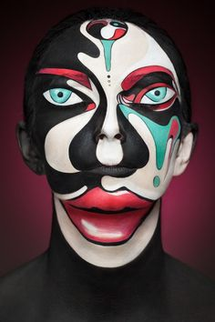 Face Painting par Alexander Khokhlov - Journal du Design - Make Up Art Evil Clown Makeup, Halloween Face Makeup, Jester Makeup, Scary Halloween, Male Makeup, Guys Makeup, Crazy Makeup, Body Makeup, Beauty Makeup