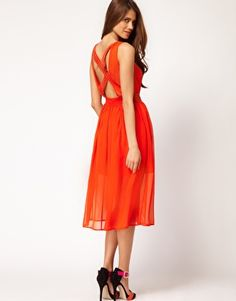ASOS tangerine, midi, sheer, crisscross back Blush Bridesmaid Dresses Long, Bridesmaid Dress Colors, Bridesmaids, Orange Midi Dress, Asos, Summer Wedding, Orange Wedding, Blind Dates, Orange Crush