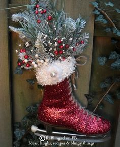 Looks like someone glittered up an old ice skate, glued on a fake fur top and filled up with beautiful Christmas greeneries and pinecones. Very Pretty. Outdoor Christmas, Country Christmas, Christmas Art, Christmas Projects, Vintage Christmas, Christmas Holidays, Christmas Wreaths, Christmas Branches, Beautiful Christmas