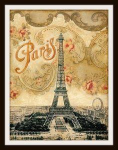 "Beautiful art print Vintage Paris Eiffel Tower Art Image Wall Decor UnframedPrint is Unframed 8.5 x 11"" Ready for framing . Professionally printed on medium we"