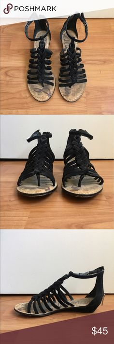"Sam Edelman Dakota Gladiator Sandal Braided suede black gladiator sandal with thong toe, back zip closure, and adjustable buckle ankle strap. Approximately 1.25"" heal. Size 6. Have been worn a handful of times, but still in good condition. Sam Edelman Shoes Sandals"