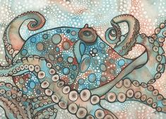 OCTOPUS 7 x 5 print of hand painted detailed by DeepColouredWater, $15.00