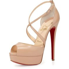 Christian Louboutin Cross Me Platform Red Sole Sandal featuring polyvore, fashion, shoes, sandals, heels, sapatos, christian louboutin, nude, leather ankle strap sandals, leather platform sandals, nude high heel sandals, wide sandals and ankle strap sandals