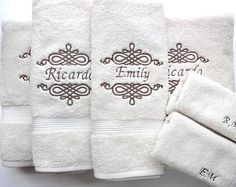 Set of 6 Personalized Bath Towels hand towel bathroom by AugustAve