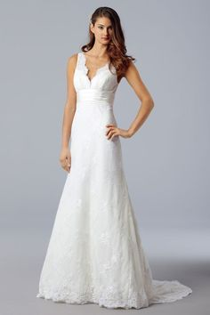 A-line/Princess V-neck Sleeveless Sweep train Beaded Lace Satin Bridal Dress