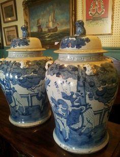 Antique Chinese Qing Era Lg Temple Vases Ginger Jars Blue and White Porcelian | eBay