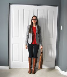 light grey and red complimented with cognac brown riding boots and tote