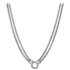 For Sale on - Authentic DAVID YURMAN Sterling Silver Pave Diamond Double Wheat Chain Necklace 16 inch . This stunning sterling silver choker necklace features Sterling Silver Choker Necklace, Layered Chain Necklace, David Yurman, Chokers, Take That, Bling, Pendant, Chains, Cable