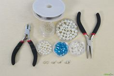 Materials needed in making blue beaded necklace