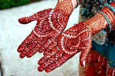 """henna hands....""""Oh, how sleep is hard to come by, once her hands have been adorned with the mehndi of her beloved."""" """"Oh, friends, come and decorate my hands with mehndi, write my beloved's name. Just see how auspicious this occasion is."""" """"Everyone's fate is held within the lines on our palms, it is on these palms that mehndi paints such beautiful pictures."""""""