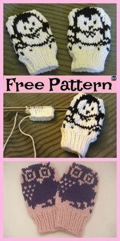 Knitting Patterns For Kids Adorable Knit Penguin Mittens – Free Patterns Baby Mittens Knitting Pattern, Crochet Baby Mittens, Crochet Baby Blanket Beginner, Crochet Gloves Pattern, Crochet Patterns, Knit Mittens, Baby Clothes Patterns, Knitted Baby Clothes, Free Pattern