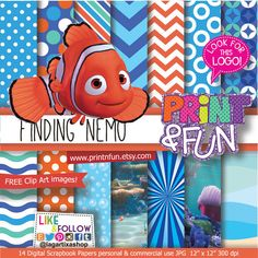 Finding Nemo Patterns Digital Paper clip art Background Pool Party Under the sea Party Printables bottle labels favor boxes