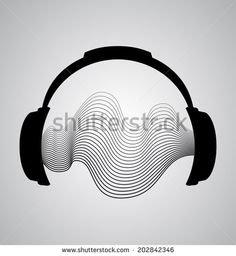 headphones icon with sound wave beats  vector, earphones, melody, isolated…