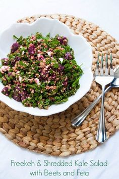 Freekeh and Shredded Kale Salad with Beets & Feta | TheCornerKitchenBlog.com #freekeh #kale