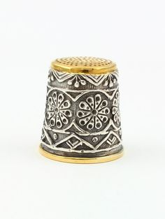 Silver Thimble with Pattern.