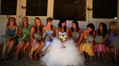 Fun wedding. Simple dress, relaxed hair down, busy bouquet. Bookmark for video!