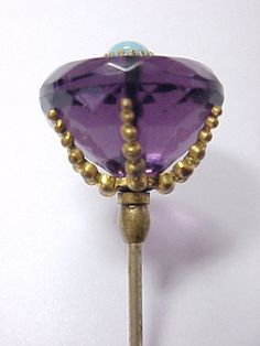 Large Unusual Purple Crystal Antique Victorian Glass hatpin Hat Pin