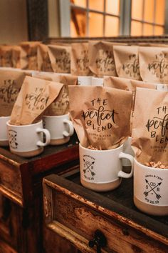 Coffee mug and coffee bean wedding favor that guests will actually use! Cute Wedding Ideas, Wedding Goals, Perfect Wedding, Fall Wedding, Our Wedding, Wedding Planning, Dream Wedding, Coffee Wedding Favors, Coffee Favors
